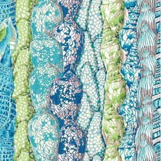 Tissu patchwork coquillages fond bleu canard Arcadia - Snow Leopard designs