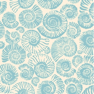 Tissu patchwork ammonites bleu ciel fond écru Arcadia - Snow Leopard designs