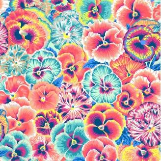 Tissu patchwork pensées turquoise et orange Arcadia - Snow Leopard designs