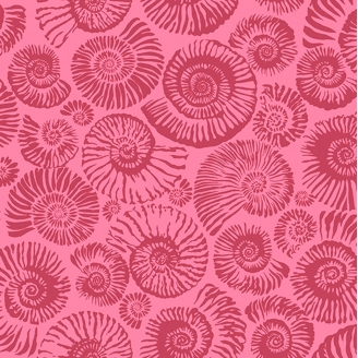 Tissu patchwork ammonites fond rose Arcadia - Snow Leopard designs