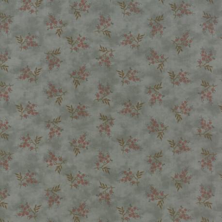 Tissu patchwork branche fleurie fond bleu - Heritage d'Howard Marcus