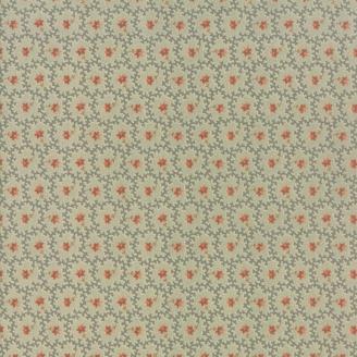 Tissu patchwork fleur rouge fond bleu - Heritage d'Howard Marcus