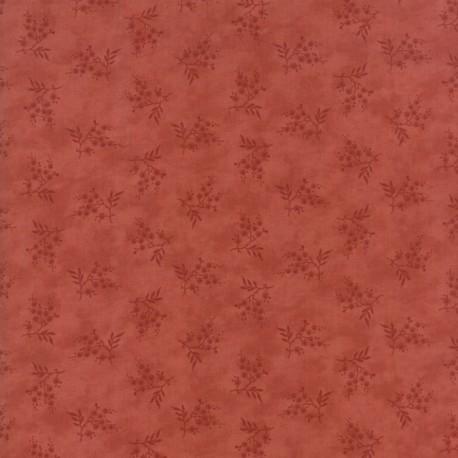 Tissu patchwork branche fleurie fond rouge - Heritage d'Howard Marcus