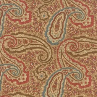 Tissu patchwork motifs cachemire bleu rouge fond écru - Heritage d'Howard Marcus