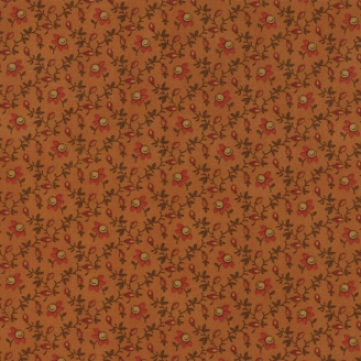 Tissu patchwork fleurs rouge fond orange brûlé - Spice it up de Jo Morton