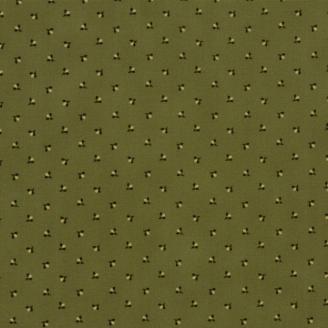 Tissu patchwork minis fleurs brunes fond vert olive - Spice it up de Jo Morton