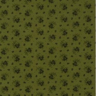 Tissu patchwork feuilles fond vert olive - Spice it up de Jo Morton