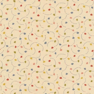 Tissu patchwork triangles multico fond crème - The Moon Rabbit