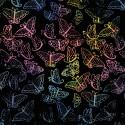 Tissu batik Laurel Burch papillons multico fond noir