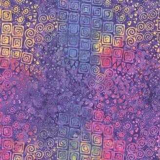 Tissu batik Laurel Burch tourbillons et carrés violet