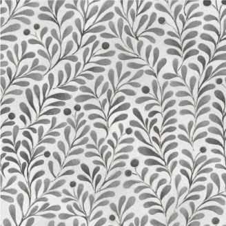 Tissu patchwork feuillage gris métallisé fond blanc - Romance
