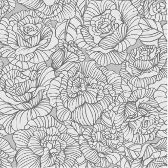 Tissu patchwork roses gris métallisé - Romance