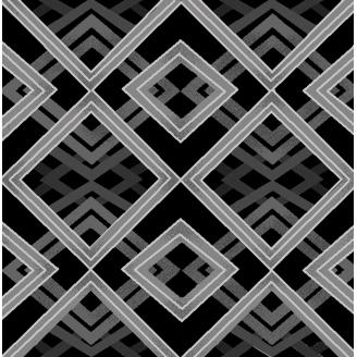 Tissu patchwork losanges gris métallisé fond noir - Romance