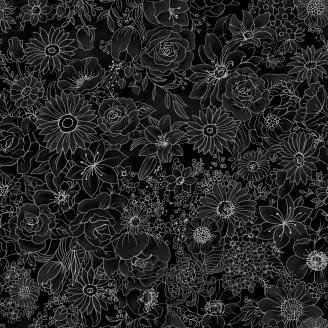 Tissu patchwork fleurs gris métallisé fond noir - Romance
