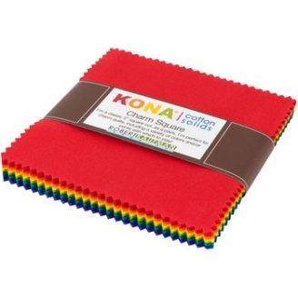 Charm pack de tissus unis Kona - Arc-en-ciel vif