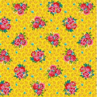 Tissu patchwork Odile Bailloeul bouquets de roses fond jaune - Confettis