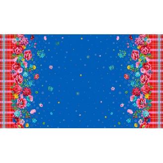 Tissu patchwork Odile Bailloeul grandes bordures fleurs et carreaux fond bleu - Confettis