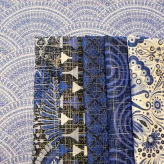 6 coupons de tissus bleus Moody Blue