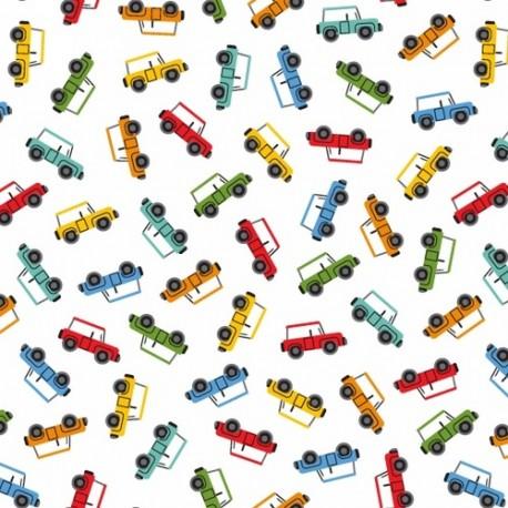 Tissu patchwork voitures 4x4 multicolores fond écru - Little Explorers