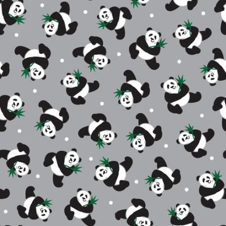 Tissu patchwork Pandas fond gris - Little Explorers