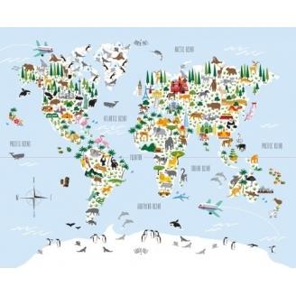 Panneau de tissu patchwork Mappemonde - Little Explorers