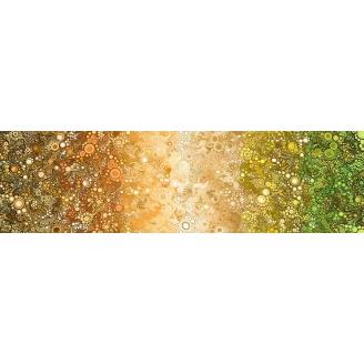 Tissu patchwork bulles en dégradé vert beige brun - Effervescence