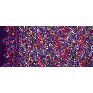 Tissu patchwork bulles multicolores fond violet - Effervescence