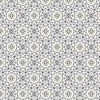 Tissu patchwork sphères et maillage noir fond blanc - Whisper