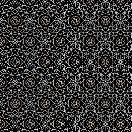 Tissu patchwork sphères et maillage blanc fond noir - Whisper