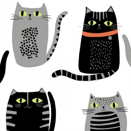 Tissu patchwork chats noir et gris fond blanc - Cat fish