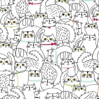 Tissu patchwork réunion de chats fond blanc - Cat fish