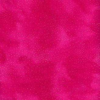 Tissu imprimé Laurel Burch pépites dorées fond fuchsia