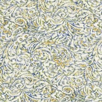Tissu patchwork cachemire stylisé fond écru