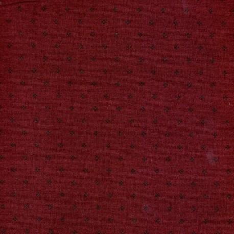 Tissu patchwork dièses noires fond rouge bourgogne