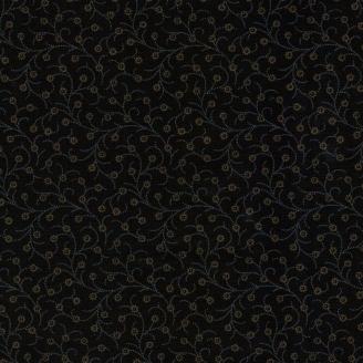 Tissu patchwork branches fleuries fond noir