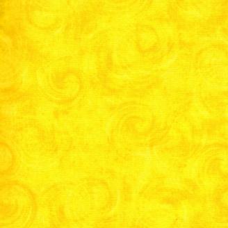 Tissu patchwork faux-uni volutes jaune canari