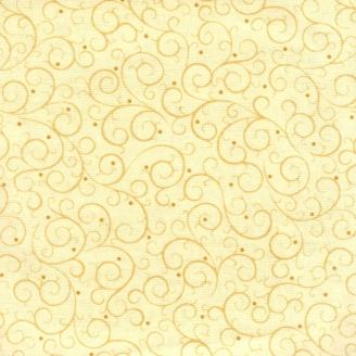 Tissu patchwork volutes fond crème