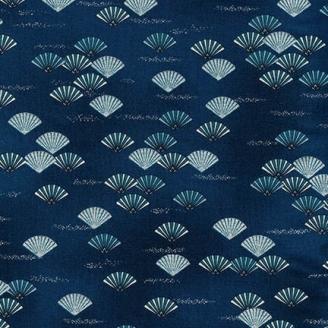 Tissu patchwork japonisant éventails fond marine