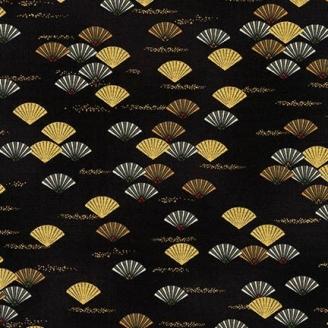 Tissu patchwork japonisant éventails fond noir