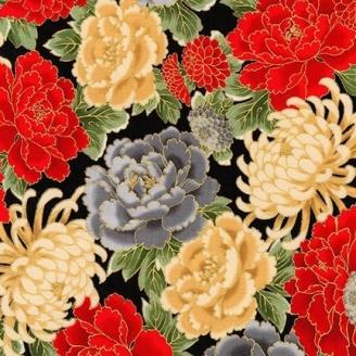 Tissu patchwork japonisant chrysanthèmes fond noir