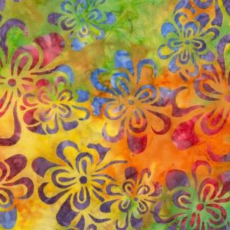 Tissu Batik fleurs multico fond vert orange