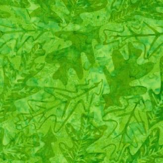 Tissu Batik feuilles de chêne vert prairie