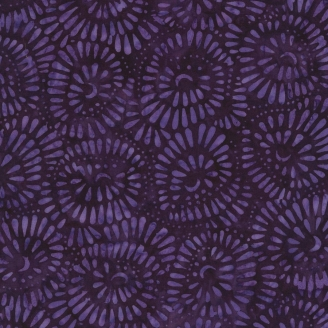 Tissu Batik corolles de pétales violet foncé