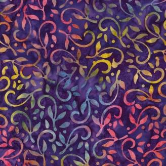 Tissu Batik plantes multicolores fond violet