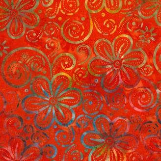 Tissu Batik fleurs multicolores fond rouge orange