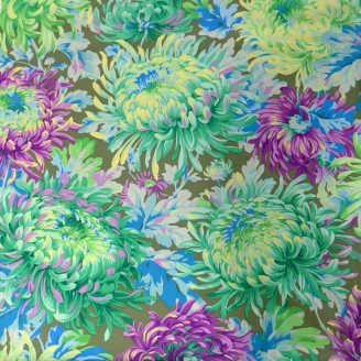 Tissu Philip Jacobs - Grandes fleurs Shaggy Aqua fond vert kaki