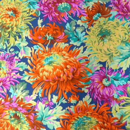 Tissu Philip Jacobs - Grandes fleurs Shaggy fond vert foncé