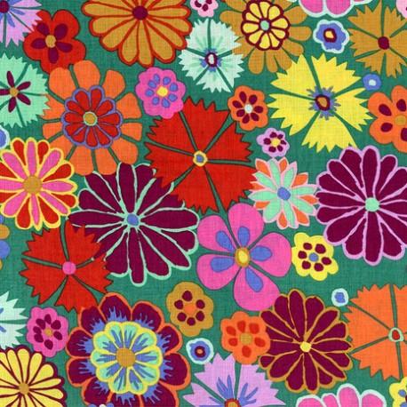 Tissu patchwork Kaffe Fassett Folk Flower fond vert