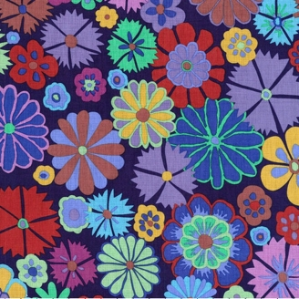 Tissu patchwork Kaffe Fassett Folk Flower violet