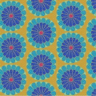 Tissu patchwork Kaffe Fassett grandes fleurs Kyoto bleues fond ocre